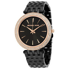 BRAND NEW WOMENS MICHAEL KORS (MK3407) DARCI BLACK ROSE GOLD TONE WATCH