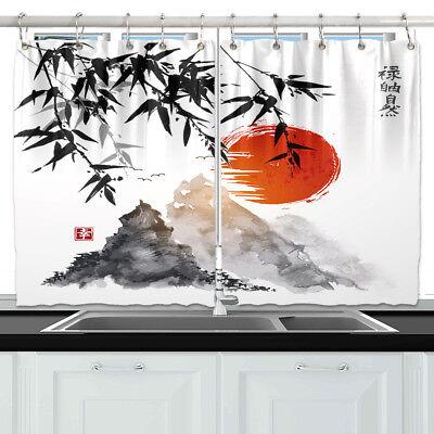 Japanese Mountain Window Curtain Treatments Kitchen Curtains 2 Panels 55x39 Ebay