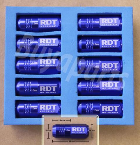 20X BLUE 50MM ALUMINUM EXTENDED TUNER CLOSED END LUG NUT CIVIC DEL SOL EG EK EF