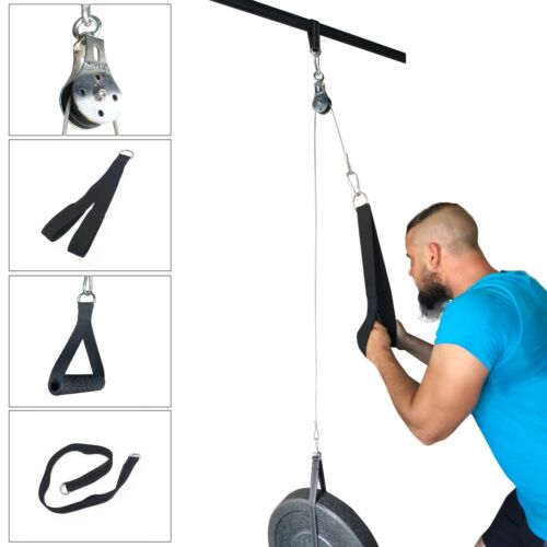 Fitness Pulley Cable Gym Workout Equipment Machine Attachment System Home DIY