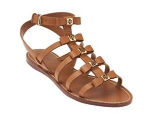 6888ceabfe56 Tory Burch shoes Kira Veg Leather Flat Sandals Royal Tan 9.5 New In ...