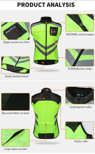 Men/'s Cycling Reflective Vest Wind Coat Sleeveless Sports Clothing Bike Gilet