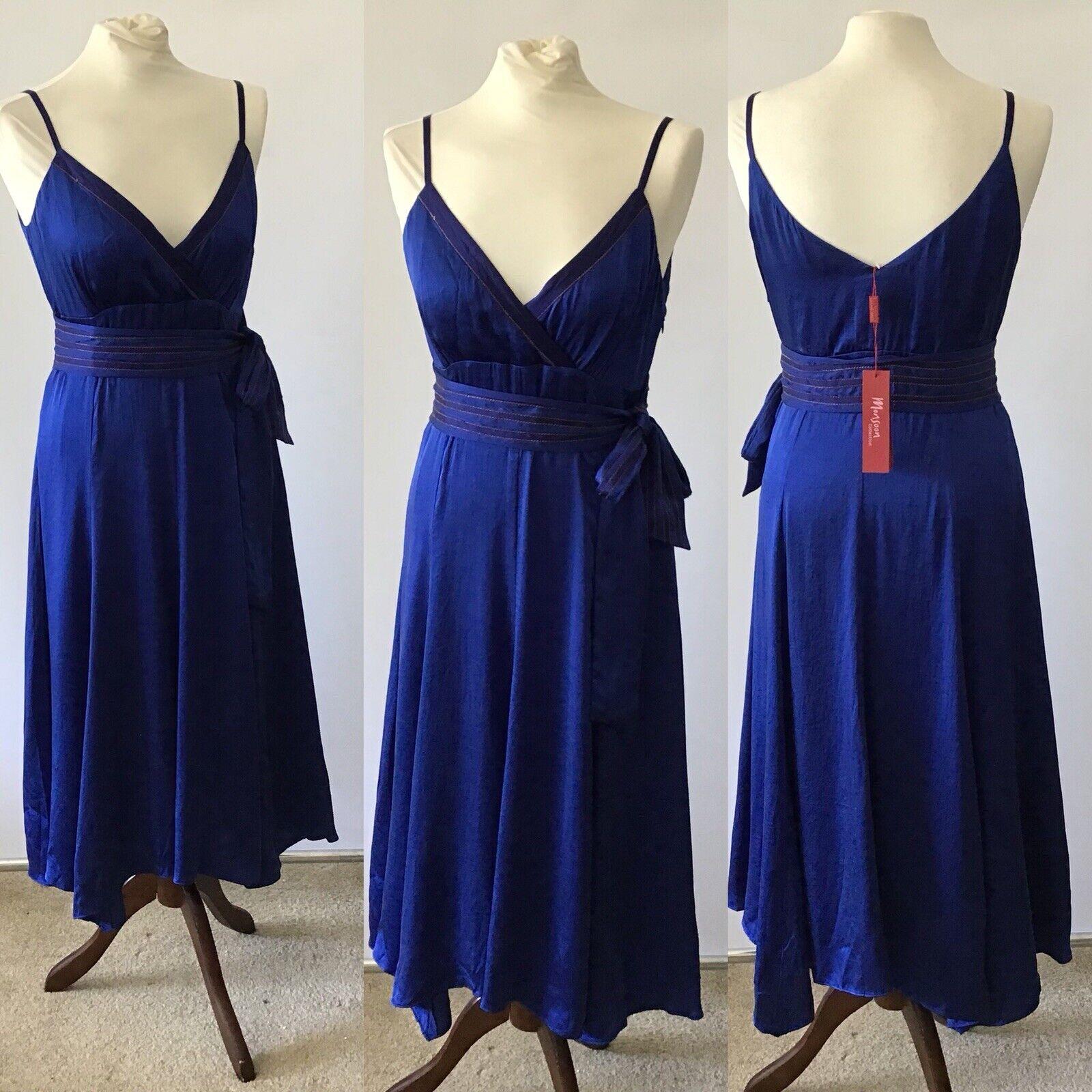 Monsoon Silk Cobalt Blau Straps Strappy Dress Größe 10 Wedding Party