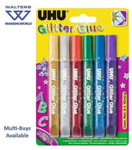 Pack of 6 Kids Crafts /& Hobbies Original Metallic Colours UHU Glitter Glue