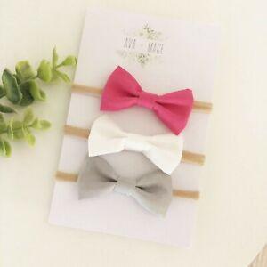 3-X-Bow-Headband-Pack-Newborn-Baby-Girl-Toddler-Nylon-White-Grey-Ho-Pink-Fabric