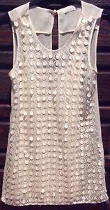 ZARA-Ladies-T-Shirt-Collection-Beige-Lace-Crotchet-Front-Top-Size-S