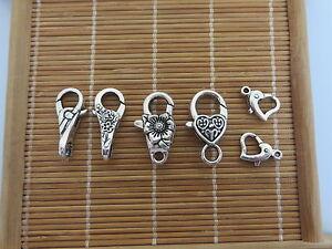 10Pcs-Silver-Heart-Flower-Lobster-Clasps-Claw-Jewelry-Fastener-Hook-Findings-DIY