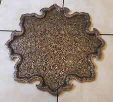 Antique Islamic Kashmiri Kashmir Mughal Persian Pierced Copper Tray Salver