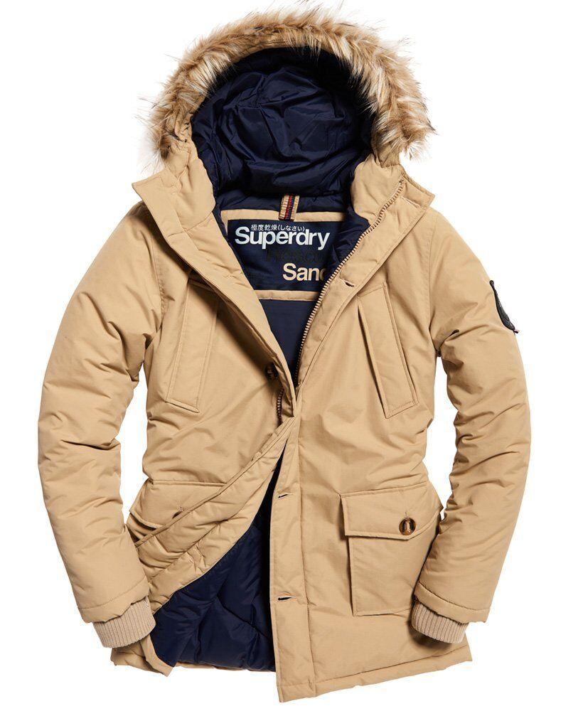 New Mens Superdry Faux Fur Trimmed Everest Coat Sand Size  S 36