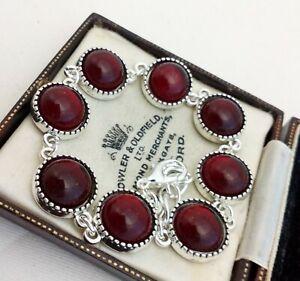 Vintage-1970s-CZECH-Ruby-Dark-Red-Mirror-Glass-Cabochon-Bracelet-12mm