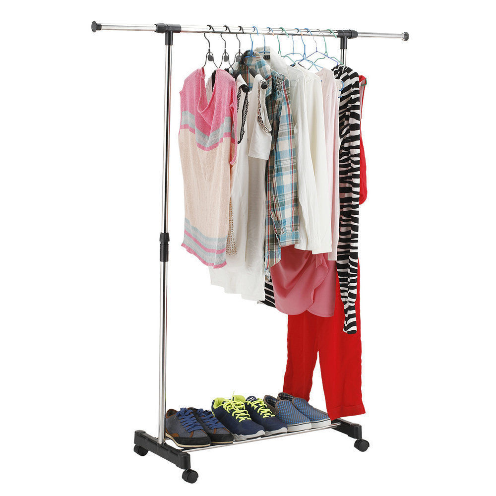 new portable double rolling rail adjustable clothes garment rack hanger hanging ebay. Black Bedroom Furniture Sets. Home Design Ideas