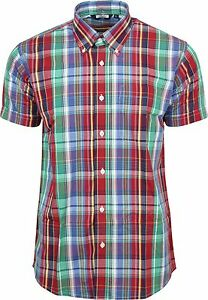 Relco Multi 100/% algodón manga corta cuadros Vintage//Retro Camisa a botones Mod