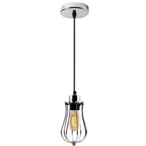 Modern-Vintage-Industrial-Retro-Loft-Ceiling-Cage-Pendant-Light-Lampshade-UK
