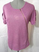 Nwt ZIPPERED Studed Pocket Tee shirt top womens SM White Tan Purple Punk blouse