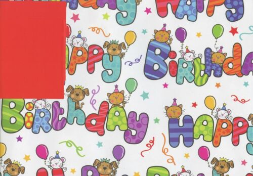 Cute Happy Birthday 2 Sheets of Poison Wrap WRAPPING PAPER 2 balises