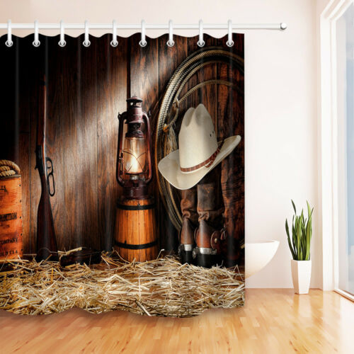 US Ship African Woman Valentine Barn Cowboy Waterproof Fabric Shower Curtain Set