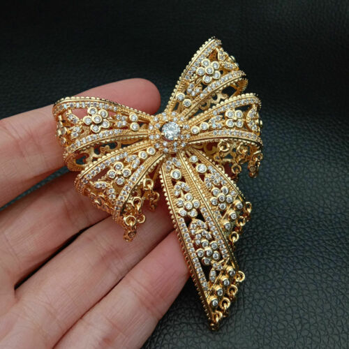 Cz Micro pavebowknotconnector for necklace //bracelet 50x55mm gold plated