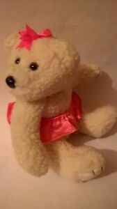 TEDDY-BEAR-PINK-BALLET-DANCE-TYPE-SKIRT-PINK-RIBBON-SOFT-TOY-SITTING-6-INS-TALL