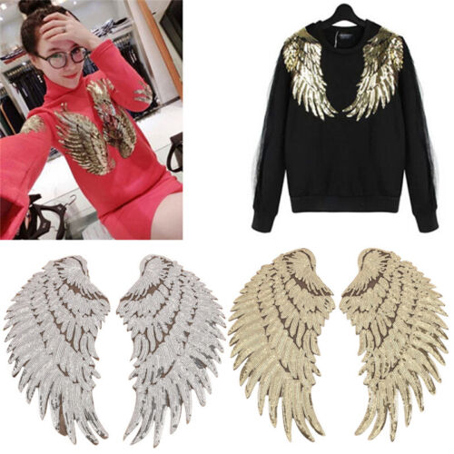 Clothes Wings Design Sequins Motif Applique Embroidered Iron On Patches StiSEES