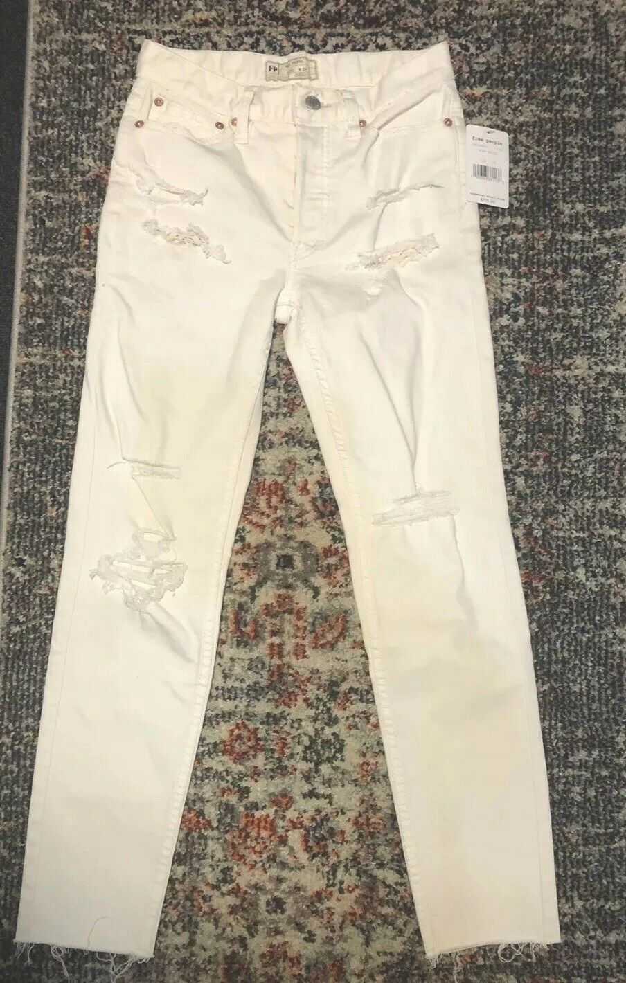 Free People Skinny Jeans 24 Ankle Ripped Distressed Washed White Womens NWT  128