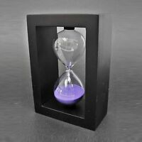 Vstoy Wooden Frame 30 Minutes Hourglass Sand Timer Black Frame Purple Sand, New, on sale