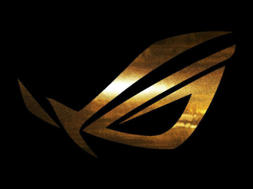 """2x Asus ROG Repubic of Gamers Decal Stickers 3.0/"""" x 1.8/"""" Metallic gold chrome"""