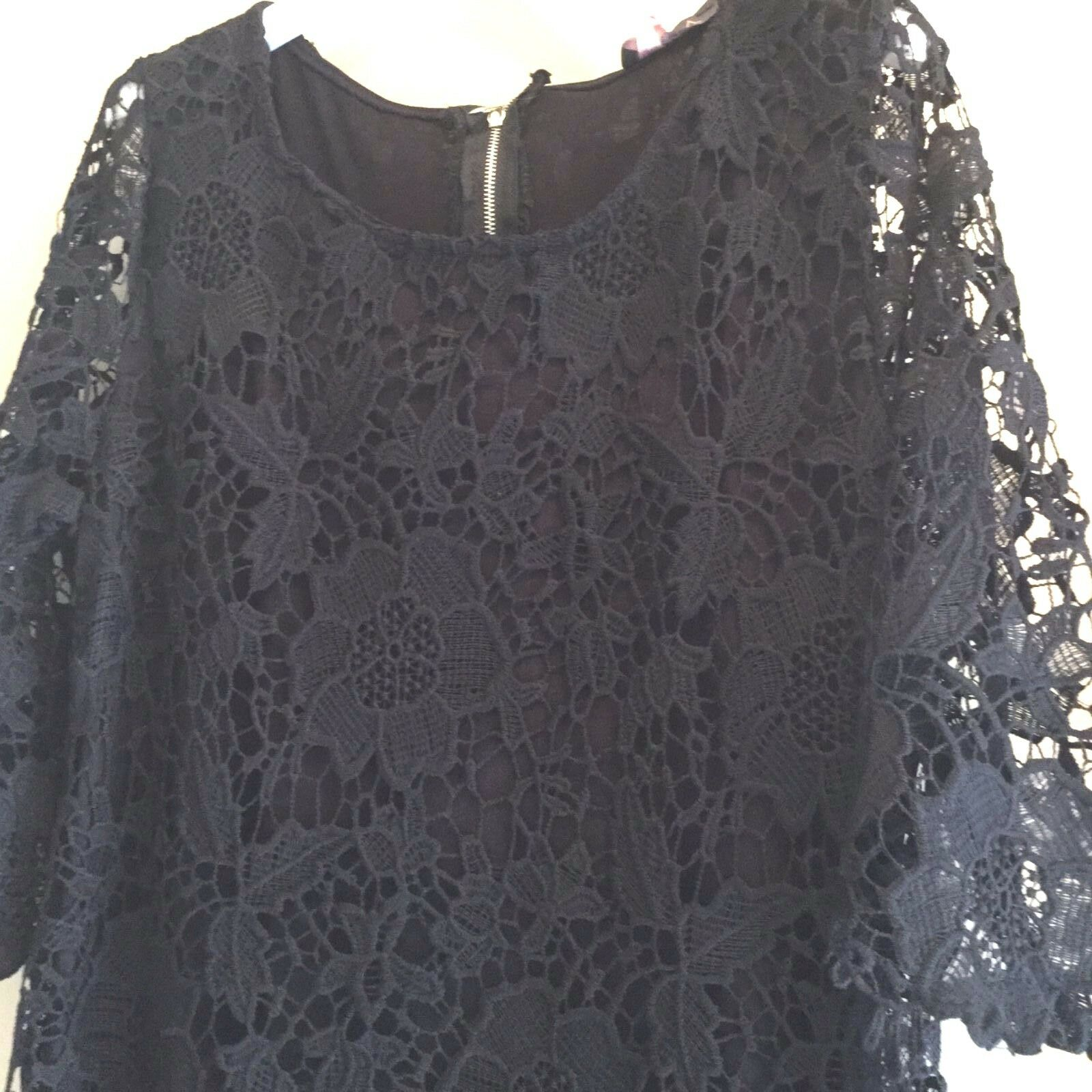 NWT Lola evening short cocktail dress black lace trumpet sleeve Large ITALY