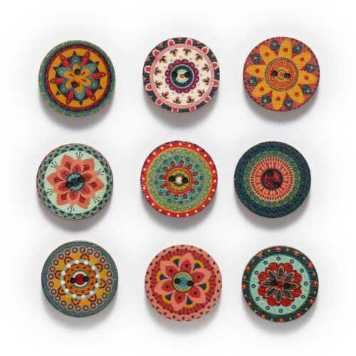 50pcs Retro series Wood Buttons for Handwork Sewing Scrapbook Clothing Crafts