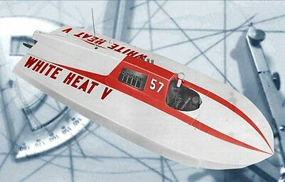 """Vintage 1962 42"""" 3/4hp Hydroplane Model Racing Boat Whit Heat V  Plans & Notes"""