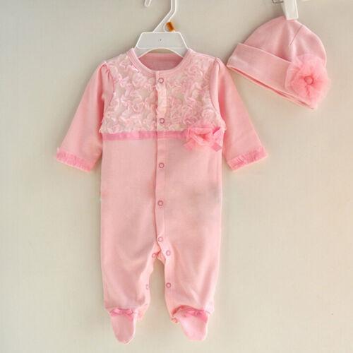 Newborn Baby Girls Infant Hat Caps+Long Sleeve Romper Bodysuit Playsuit 2PCS//Set