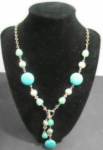 COSTUME-JEWELRY-TURQUOISE-SILVER-PINK-BEAD-NECKLACE