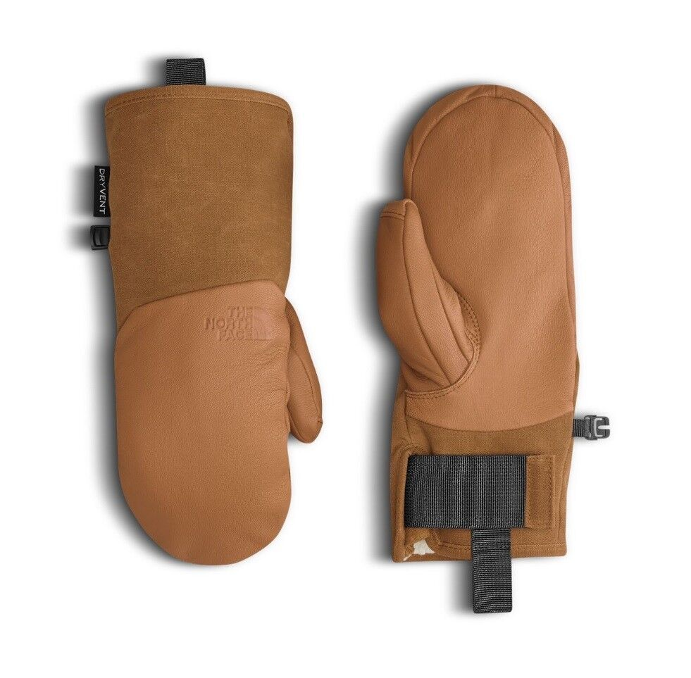 The North Face IL SOLO MITTS Leather Sherpa Fleece Lined Mittens Timber Tan M