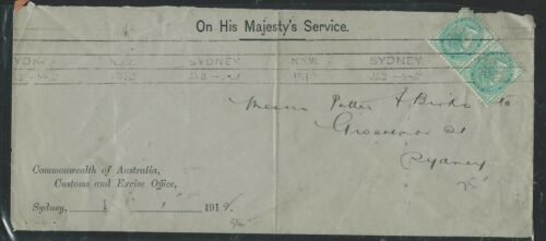 NEW SOUTH WALES P2906B 1912 OHMS ENVELOPE QV 12D OS PERF IN TO SYDNEY NICE!