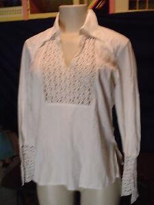 Misses-Limited-Size-M-White-Stretch-LS-Lace-Trim-VNeck-Shirt-EUC