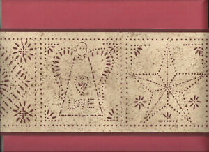 Details About Wallpaper Border Punched Tin Country Primitive Angel Star House Tree Rustic New