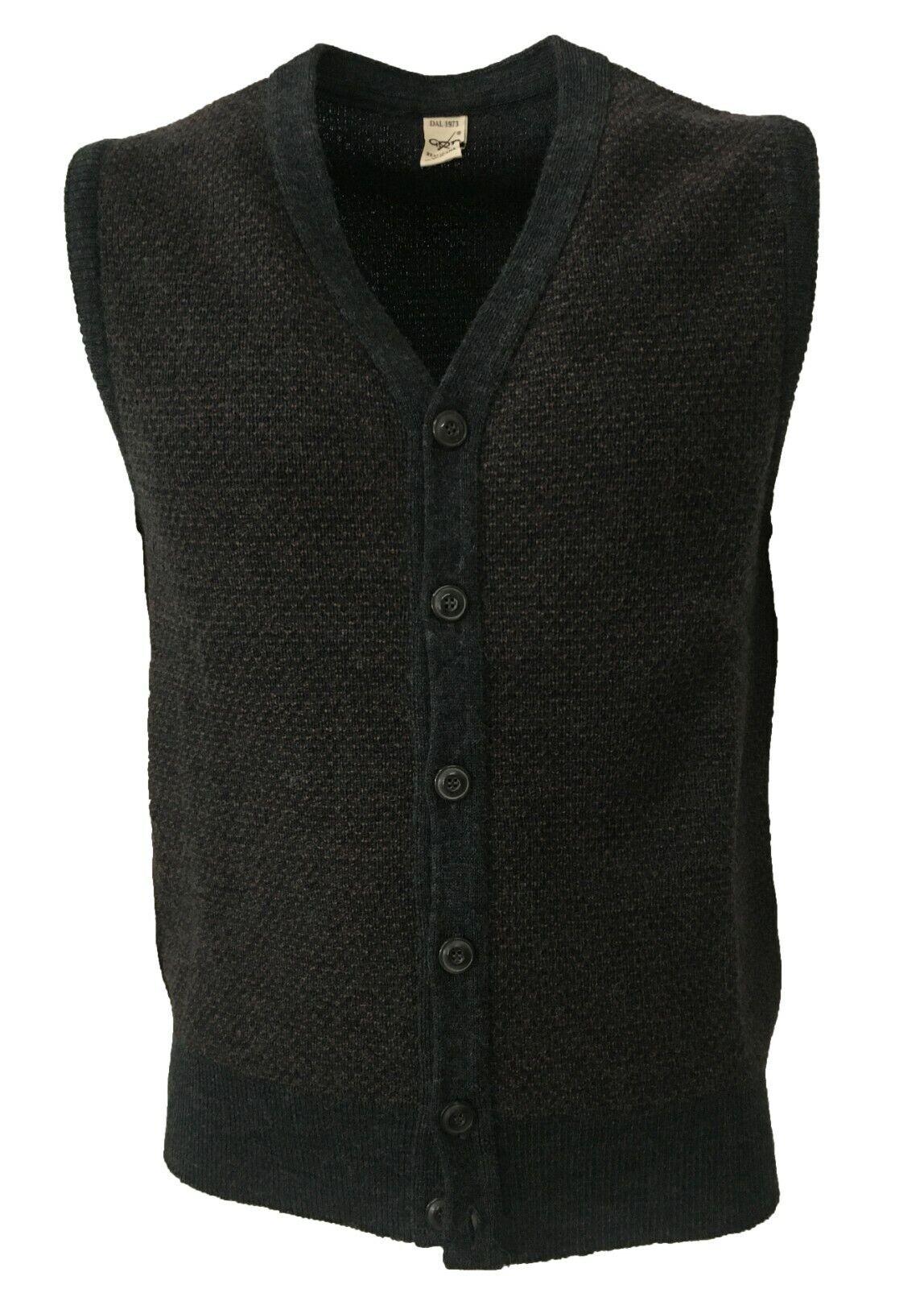 Weste Herren Gemustert Grau   MGold Gfk 100% Wolle Made in  Sf Tec 2 BiFarbe