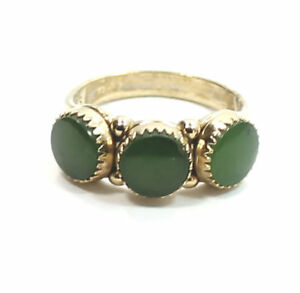 Antique-Green-Onyx-Gold-Plated-925-Sterling-Silver-Estate-Ring-Size-7