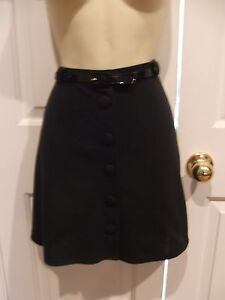 New-in-pkg-blk-belted-swing-skirt-frederick-039-s-of-hollywood-made-in-usa-size-11