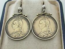 Antique Silver Gilt Victorian Queen Victoria 1887 Golden Jubilee Coin Earrings