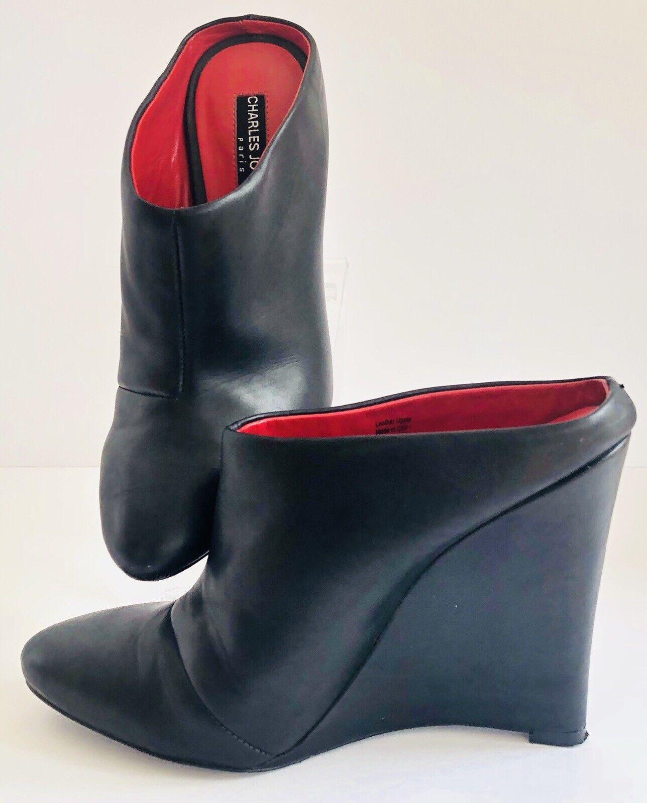 Charles Jourdan Womens Alma Black Wedge Heel Mule Bootie shoes Size 6.5 M