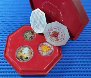 2005-Singapore-Lunar-Rooster-Series-Coin-Set-2-10-Silver-Piedfort-Proof-Coin
