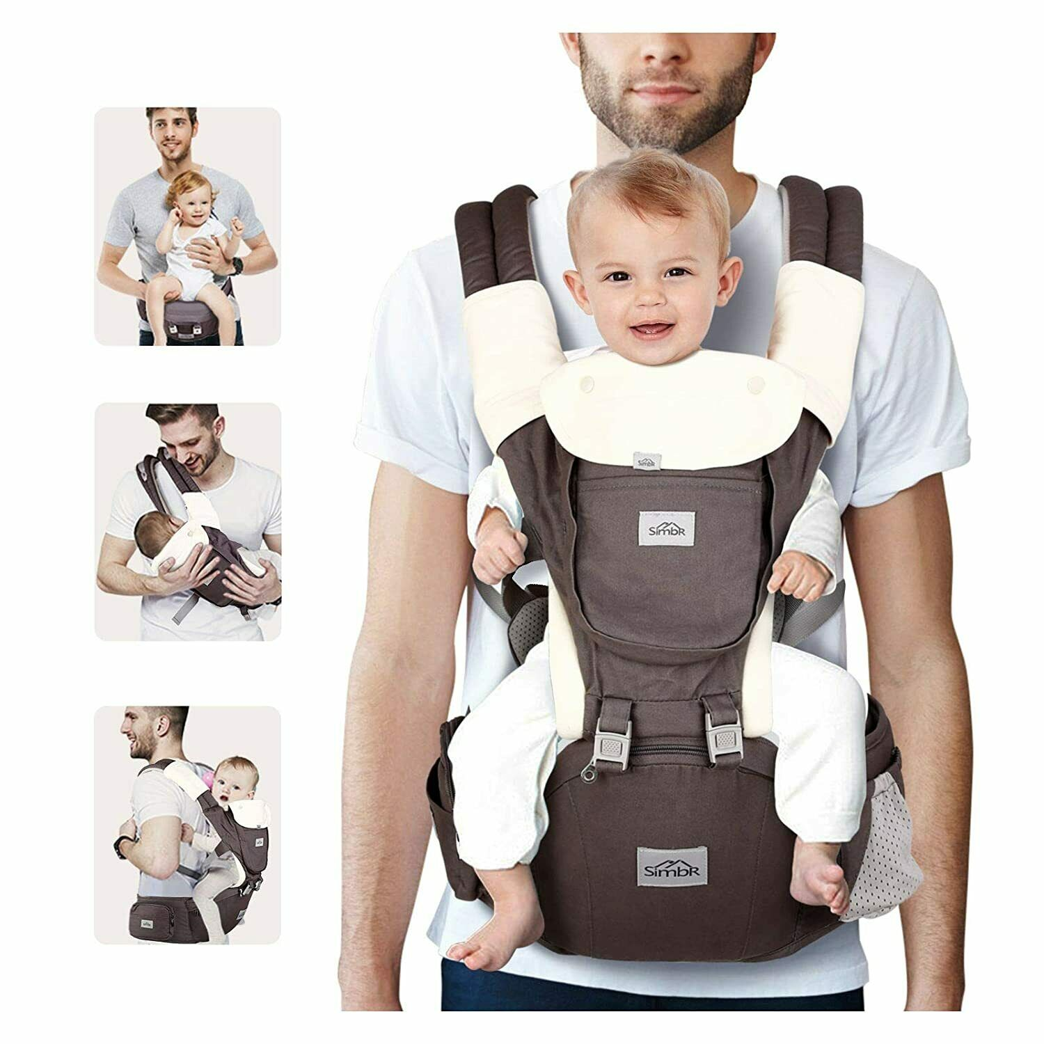 SIMBR Baby Carrier for Newborn to Toddler (3-36 Months) with Hip Seat YD0301X