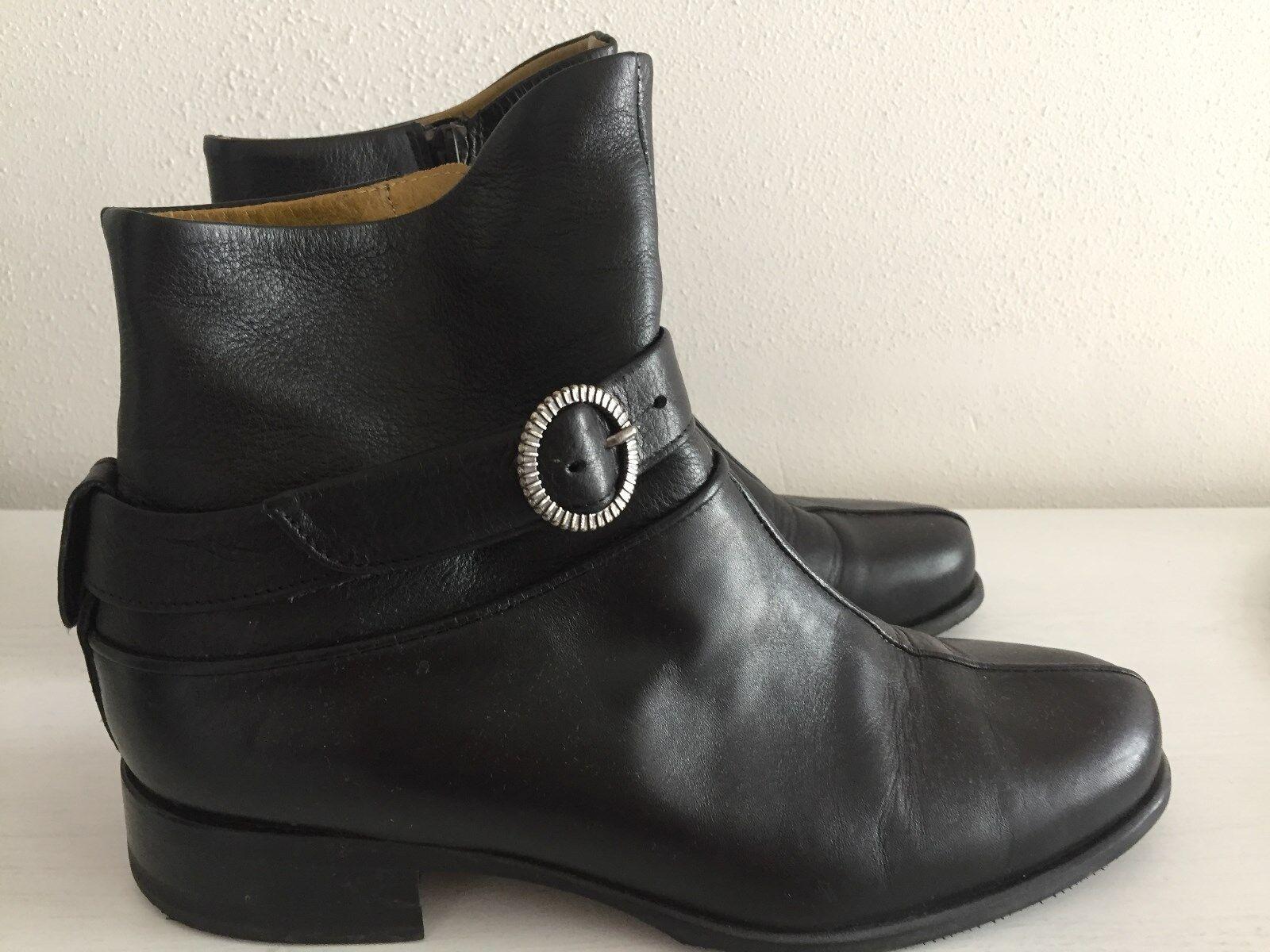 Vabene Stiefel Stiefeletten schwarz Leder Gr. 38 herausnehmbare Innensohle