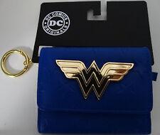 Wonder Woman Logo Metal Badge Mini Trifold Wallet Nwt