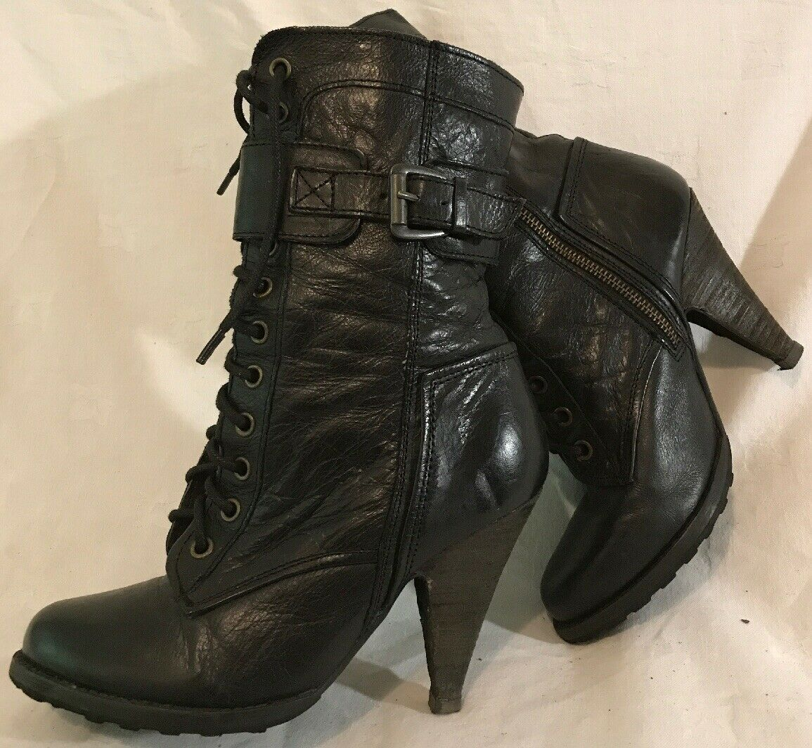 Urban Vintage Black Mid Calf Leather Lovely Boots Size 5 (482v)