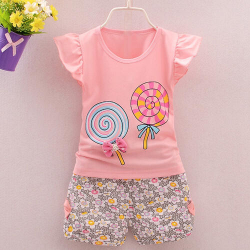 2PCS Toddler Kids Baby Girls Outfits Lolly T-shirt Tops+Shorts Pants Clothes Set