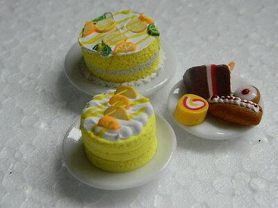 (c15) 1/12th Scala Casa Delle Bambole Torte: 3 X Torte Fatte A Mano Assortiti-mostra Il Titolo Originale