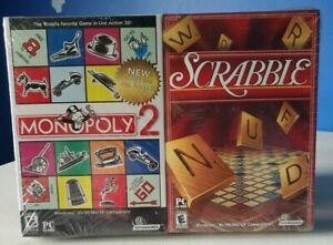 Monopoly-2-amp-Scrabble-Vintage-Board-PC-Game-Pack-2-Lot-Sealed-NEW