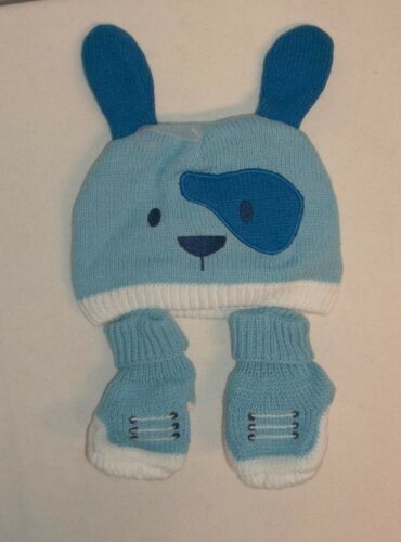 The Childrens Place Baby Boys Infants Calm Blue Winter Hat /& Booties NWTS!