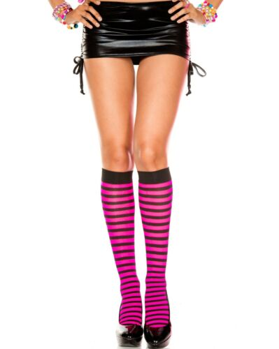 Hosiery Nylon Knee High Socks Black Neon Hot Pink 80/'s Rave Halloween Accessory